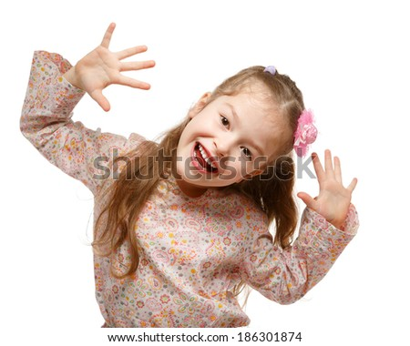 Little girl on the move. Cheerful, positive. Naughty child.  - stock photo