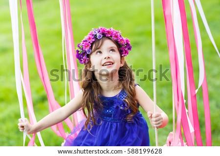 Cute Small Girl Little Girl On Swing Little Girl Stock Photo 588199628  Shutterstock