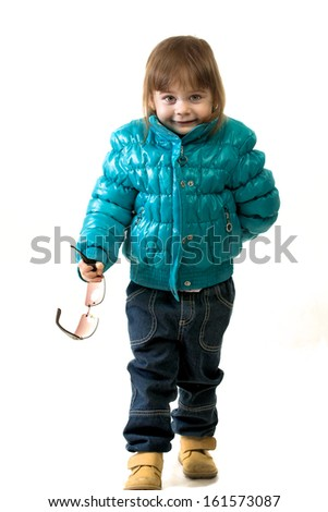 Little girl on the white background