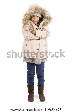 little girl on winter isolated in white - stock photo