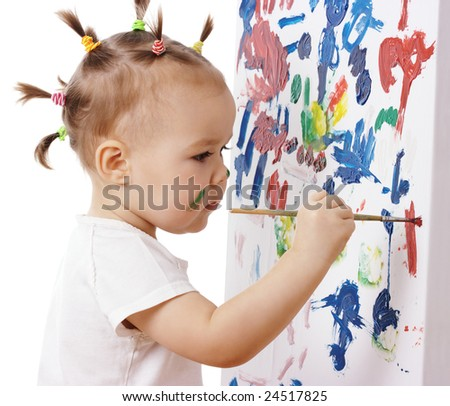 Little girl paint on a board, isolated over white - stock photo