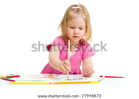 Little girl painting with brush isolated - stock photo