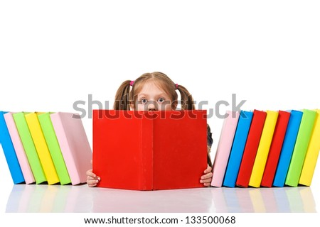 Little girl peeking from pile of books. Isolated over white - stock photo