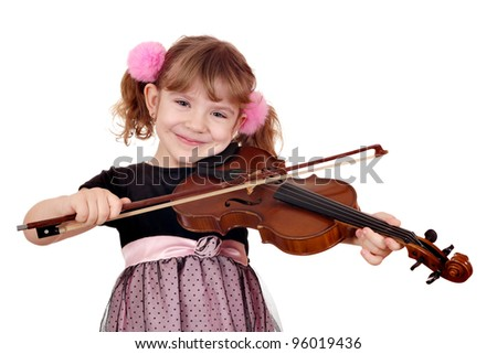 little girl play violin - stock photo