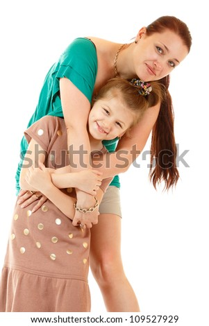 little girl play with her mother, isolated on white background