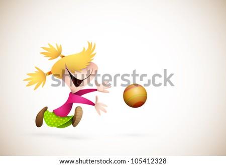Little Girl PLaying Handball - stock photo