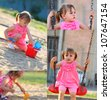 Little girl playing in the park. Collage - stock photo