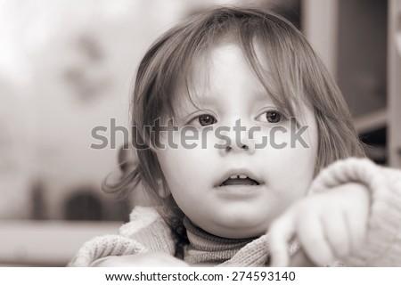 Little  girl portrait in black white - stock photo