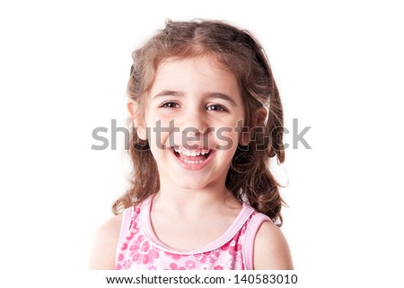 Little girl portrait on a white background.