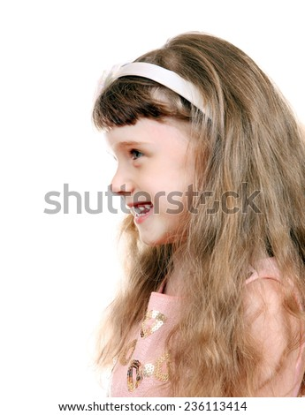 Little Girl Portrait on the White Background - stock photo