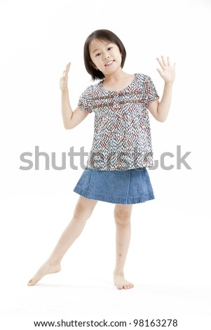 little girl portrait with blue jean on the white background - stock photo
