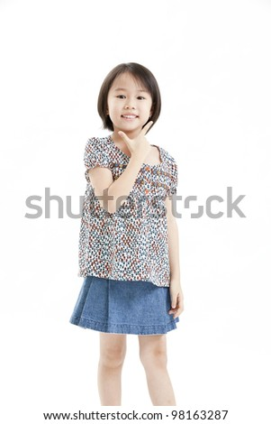 little girl portrait with blue jean on the white background
