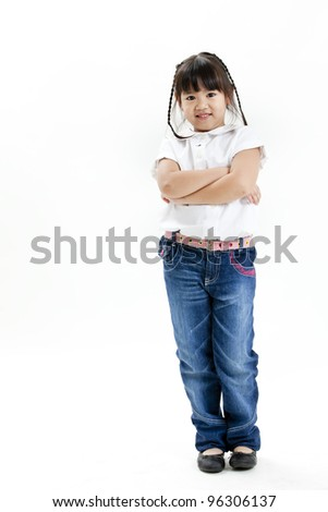 little girl portrait with white shirt and blue jean on the white background