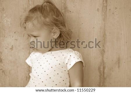 Little Girl Pouting - stock photo