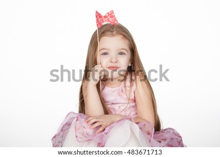 little girl princess over white background with copyspace