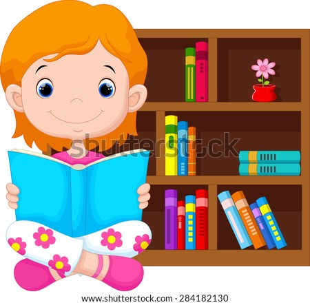 Little girl reading a book - stock photo