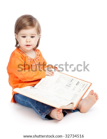 Little girl reading a book. Isolated on white background - stock photo