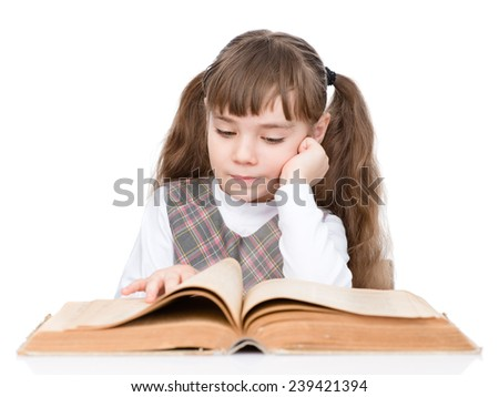 little girl reading book. isolated on white background