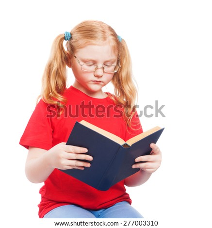little girl reading the book isolated on white - stock photo