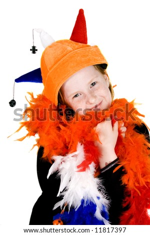 little girl ready to celebrate queensday - stock photo