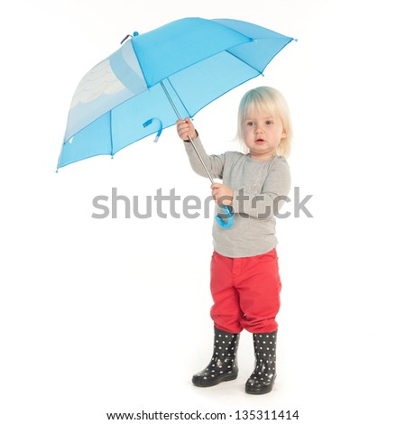 Little girl ready to the face the rain (isolated on white) - stock photo