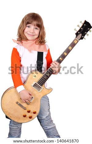 little girl rocker with electric guitar on white