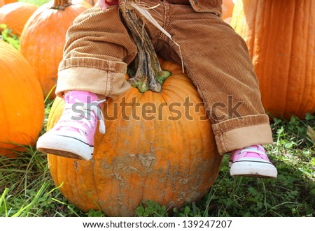 Little girl's legs dangling from her seat on a large orange pumpkin she singled out to take home from the local pumpkin patch.