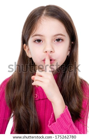 little girl say silence is a secret - stock photo