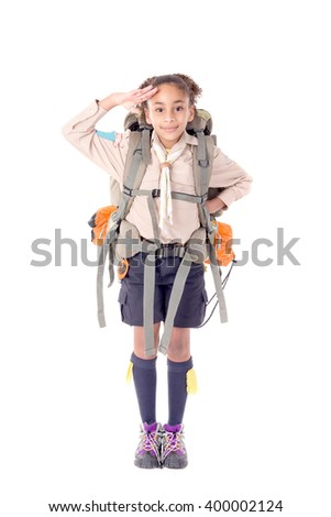 little girl scout isolated in white - stock photo