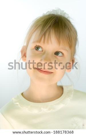 Little girl seven-ten years old closeup portrait - stock photo