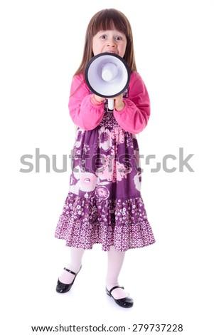 Little girl shouting into big white megaphone - stock photo