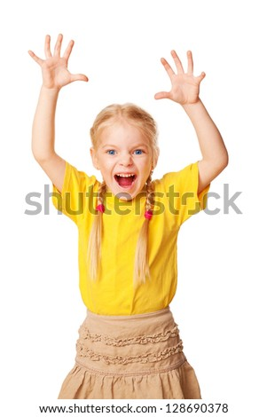 Little girl shouting loudly with raised hands up.  Isolated on white background - stock photo
