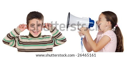 Little girl shouting through megaphone at a boy isolated over white