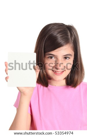 little girl showing a card - isolated over a white background