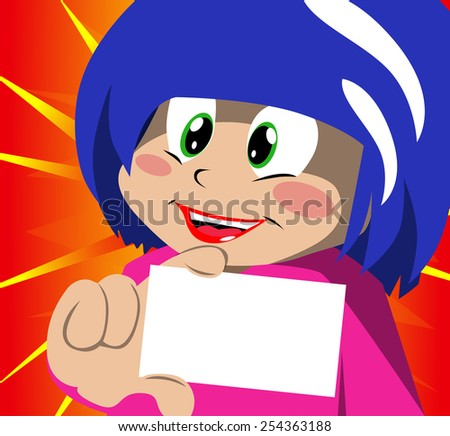 Little girl showing blank card - stock photo
