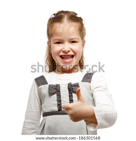 Little girl showing OK sign. - stock photo