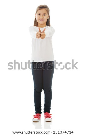 Little girl showing two hands with victory gesture - stock photo
