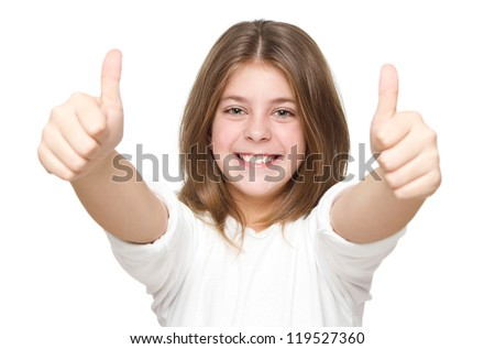Little girl showing two thumbs up isolated on white background - stock photo