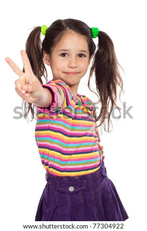 Little girl showing victory gesture, isolated on white