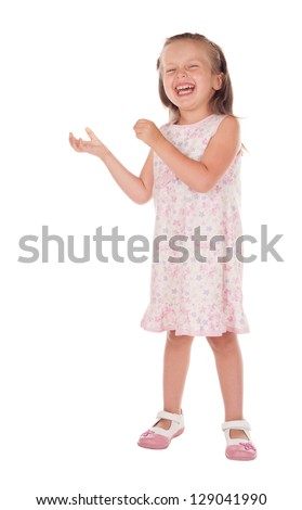 little girl shows anything in his hand - stock photo