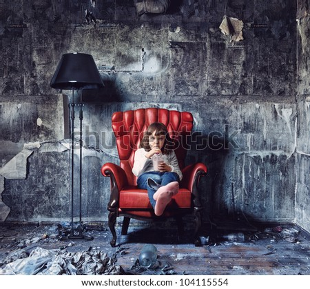 little girl sitting in  grunge interior (Photo and hand-drawing elements combined) - stock photo