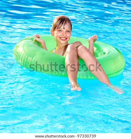 Little Girl Sitting On Inflatable Ring Stock Photo Edit