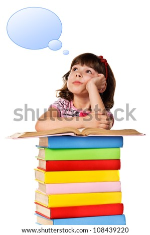 Little girl sitting on stack of books with a empty speech bubble over her head. Isolated - stock photo