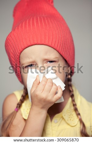little girl snot - stock photo