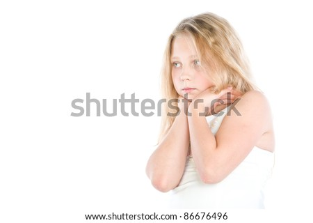 little girl standing in a beautiful white dress, isolated over white
