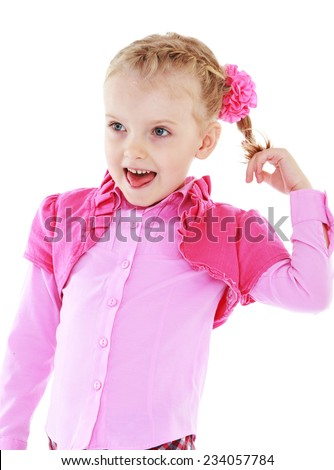 Little girl sticking his tongue twists itself for braid.Isolated on white background. - stock photo
