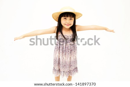 Little girl stretching