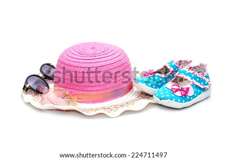 Little girl summer accessories on white background