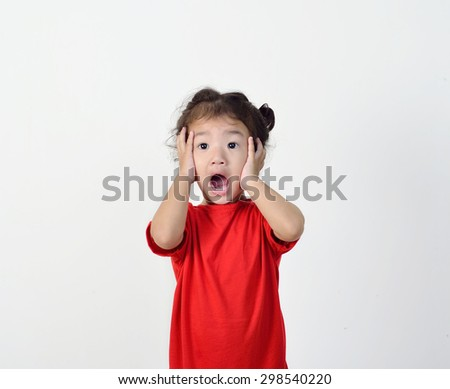 little girl surprising what she see. - stock photo