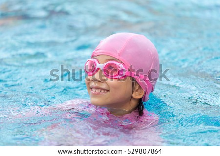 Cute little girl learning swim stock photo 524134597 for Cute pool pictures